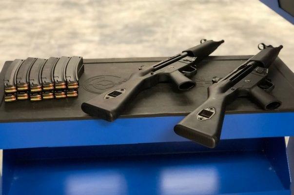 rifles on range table
