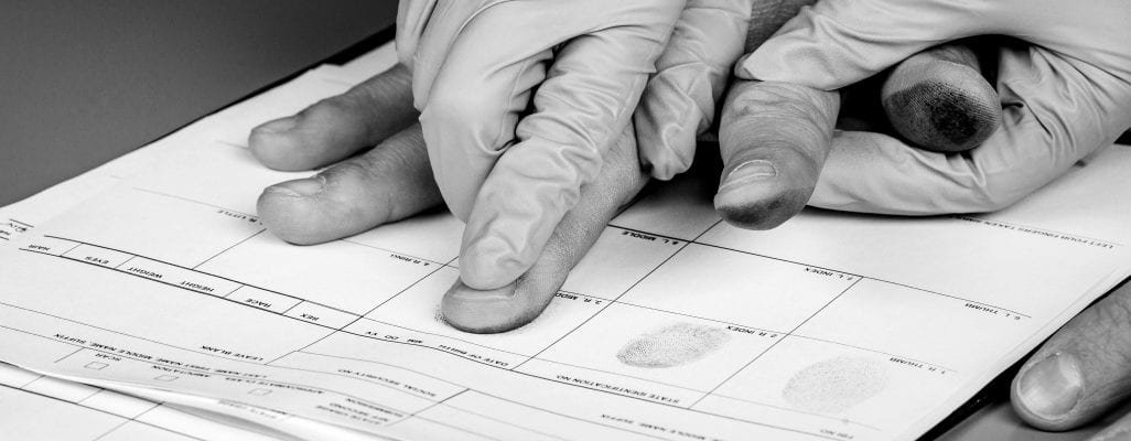 Fingerprinting being done on a card